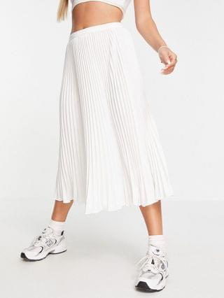 WOMEN French Connection pleated midi skirt in white