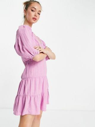 WOMEN French Connection Birch gingham puff sleeve dress in lavender