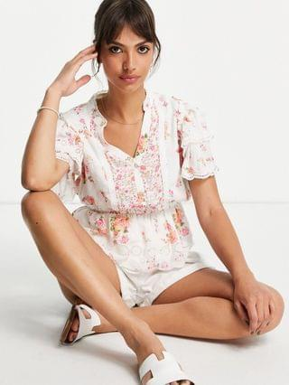 WOMEN River Island floral broderie top in pink