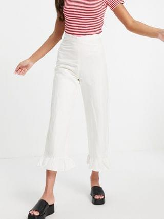WOMEN & Other Stories ecovero linen trouser with frill hem in off white