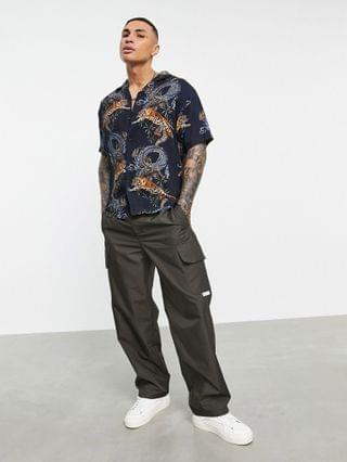 Pull&Bear shirt with tiger print in black