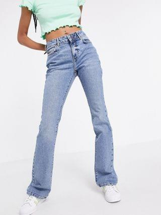 WOMEN New Look low rise flare jeans in mid blue