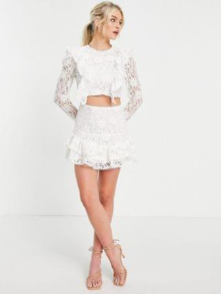 WOMEN Collective the Label Petite open back lace top in white - part of a set