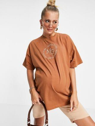 WOMEN Missguided Maternity t-shirt with mama to be slogan in in chocolate