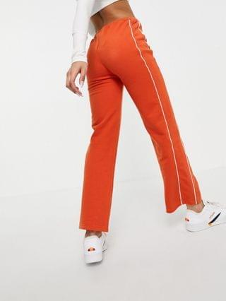 WOMEN ellesse high waist joggers with piping in burnt orange