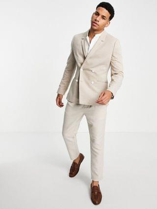 skinny pique jersey blazer with white buttons