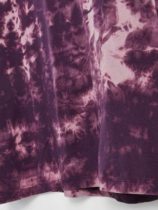 oversized T-shirt with half sleeves in purple tie-dye wash