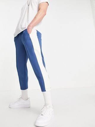 tapered sweatpants in scuba with fixed hem & side stripe - part of a set