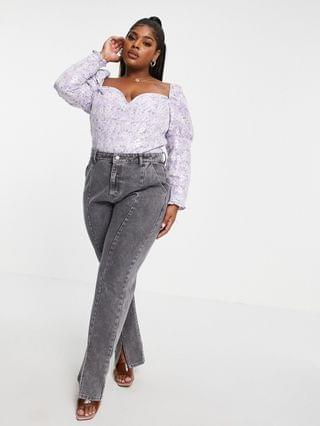 WOMEN Collective the Label Curve puff sleeve statement top in pewter floral
