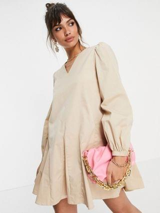 WOMEN Glamorous a line shift dress with pleated hem in stone