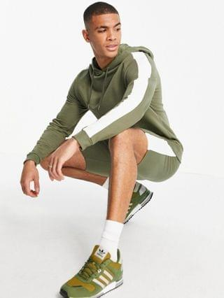 organic tracksuit with hoodie & shorts with side stripe in khaki