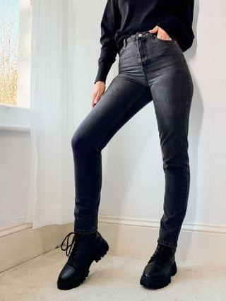 WOMEN Topshop Tall washed black Mom jeans