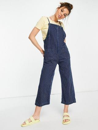 WOMEN Monki Mona organic cotton overalls with pocket front in blue stripe