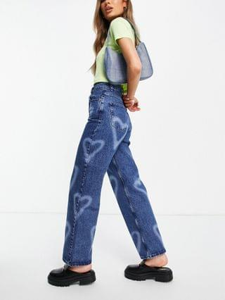 WOMEN Topshop oversized mom jeans with bleached hearts in mid blue