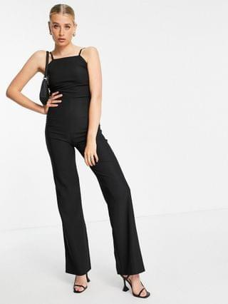 WOMEN Vesper Tall square neck jumpsuit with wide legs in black