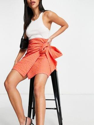 WOMEN Never Fully Dressed square neck frill crop top in metallic orange gingham - part of a set