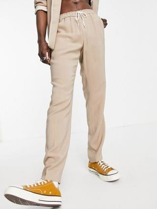slim fit pajama suit with piping on pocket in camel