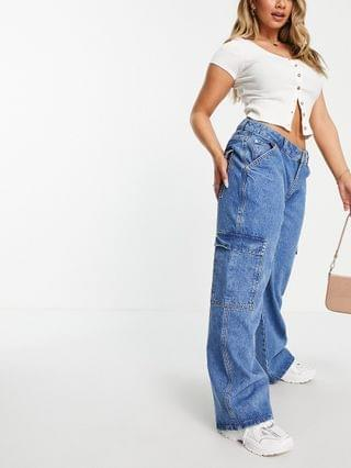 WOMEN Hourglass organic low rise super relaxed dad jeans with patch pockets in lightwash