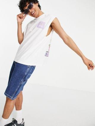 MEN Crooked Tongues tank with back print in white
