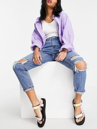 WOMEN Topshop Petite mid blue ripped Mom jeans