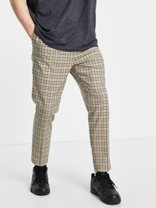 tapered smart pants in stone plaid