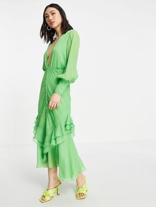 WOMEN plunge front button front midi dress with long sleeve and ruffle skirt