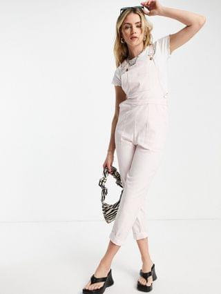 WOMEN twill overalls with pockets in pale pink