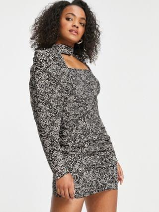 WOMEN In The Style x Olivia Bowen puff sleeve cut out bust mini dress in floral ditsy print