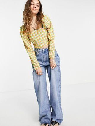 WOMEN Twisted Wunder square neck crop top set in multi mini check