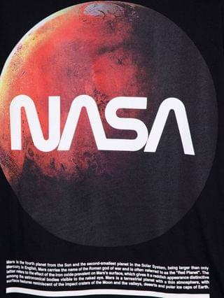 oversized T-shirt with NASA planet print in black
