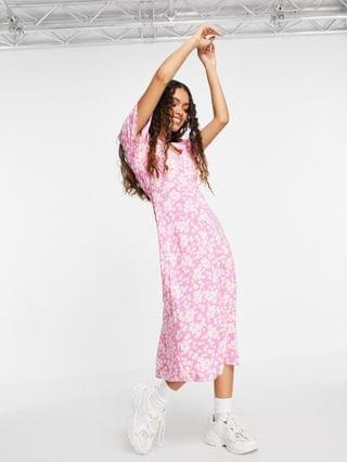 WOMEN New Look Petite flutter sleeve button front midi dress in pink floral