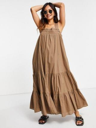 WOMEN & Other Stories organic cotton tiered volume maxi dress in brown
