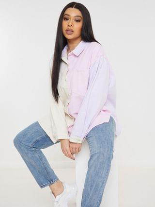 WOMEN Missguided Plus shirt in pastel pink color block
