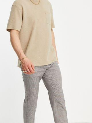 New Look tapered smart pants in brown check