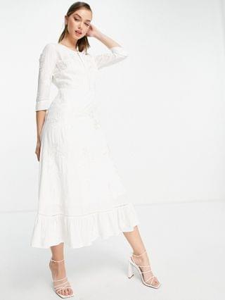 WOMEN French Connection Dija embroidered midi dress in white