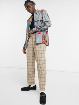 overshirt in zip through with conversational placement print