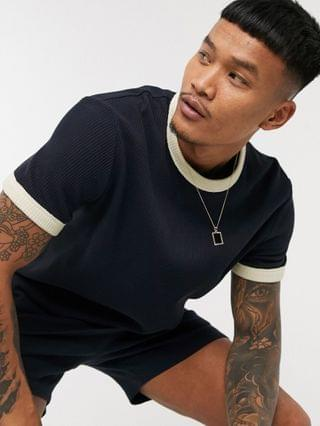 waffle t-shirt with contrast trim in navy - part of a set