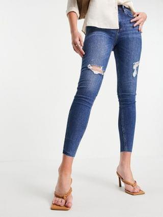 WOMEN River Island Tall ripped raw hem high rise skinny jeans in mid auth blue