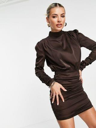 WOMEN Rare London ruched satin mini dress with high neck in brown