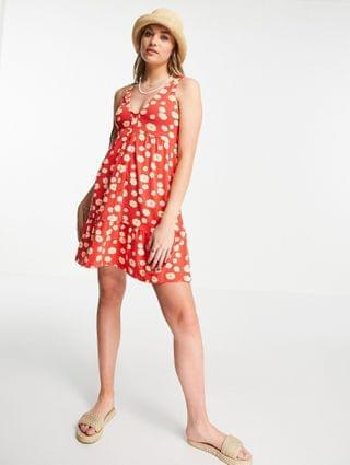 WOMEN Tall button up smock dress in red daisy floral print