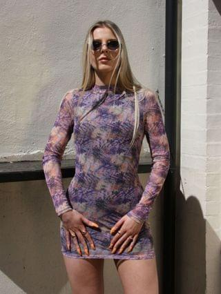WOMEN Noisy May exclusive mesh open back body-conscious mini dress in purple marble print