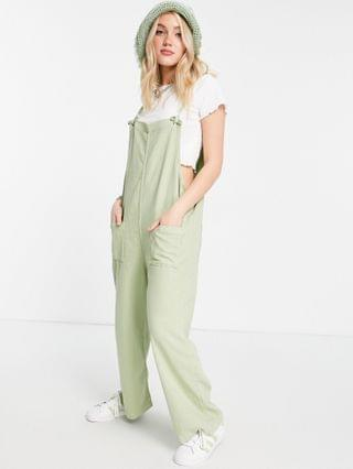 WOMEN Monki Mona organic cotton overalls with pocket front in sage green