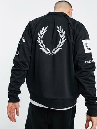 Fred Perry graphic logo track jacket in black