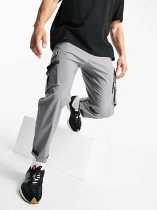 Topman relaxed cargo track pants in gray