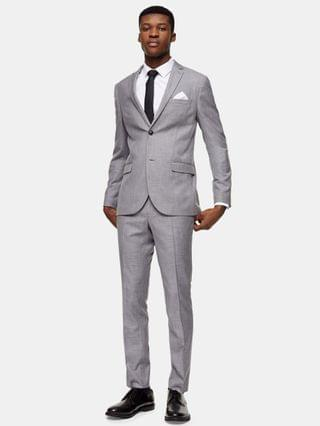 MEN Topman skinny fit single breasted suit jacket with notch lapels in gray