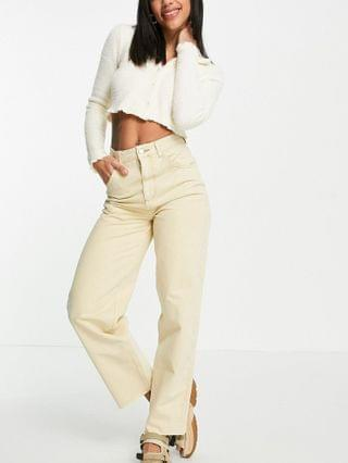 WOMEN Reclaimed Vintage Inspired 90's dad jean in buttermilk with raw hems