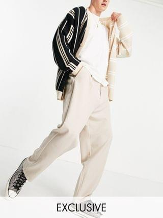 Reclaimed Vintage Inspired unisex relaxed blazer & pants set in neutral