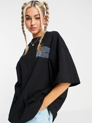 MEN COLLUSION Unisex oversized t-shirt with print in black