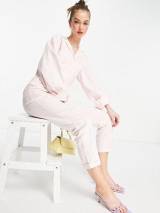 WOMEN Pretty Lavish utility jumpsuit with pockets in pastel pink