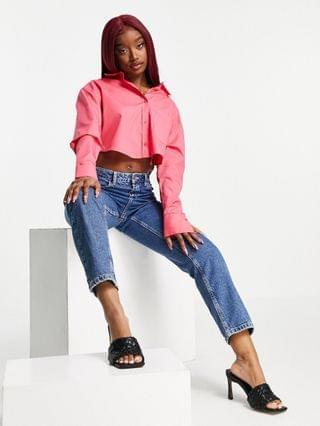 WOMEN ASYOU cropped branded shirt in pink